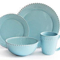 16-Pc Bianca Bead Dinnerware Set, Azul, Place Settings