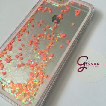 SALE Neon Coral Liquid Heart moving glitter iPhone 6+ 6 plus, 6, 5s, 5c, 5, 4s, 4 phone case Samsung S3, S4, S5, S6 phone case sand glitter
