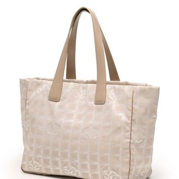 Chanel New Travel Line Tote Bag MM A15991 Beige Canvas Leather Women''s