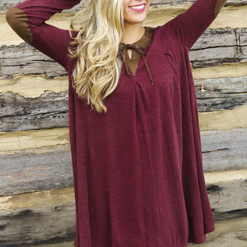 Into The Woods Wine Knit Long Sleeve Dress With Brown Suede Collar & Elbow Patches