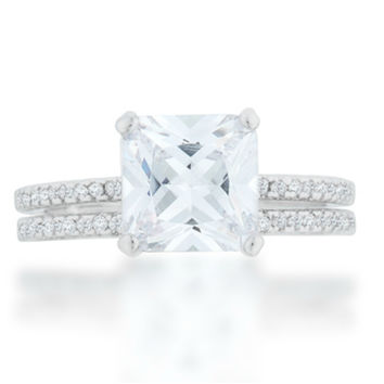 Lexy Princess Solitaire Engagement Wedding Ring Set | 3.5ct |Cubic Zirconia | Silver