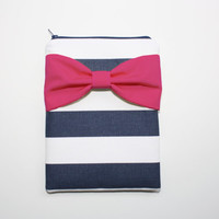 iPad Case - Android - Microsoft Tablet Sleeve - Navy and White Stripes with Hot Pink Bow - Padded