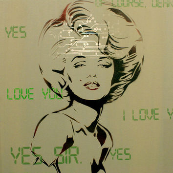 Marilyn Monroe Painting Stepford Wives Portrait 18 x 24 MONROBOT BETA Canvas Graffiti SciFi Pop Art Street Art Warhol Banksy Obey Inspired