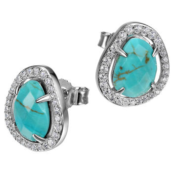 Sparkeling Turquoise Howlite CZ Post Earrings