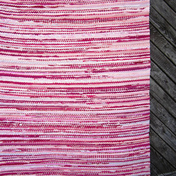 Handwoven rag rug -6.6' x 2.95' - pink and white girls room carpet' - ready for sale