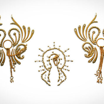 Showgirl Gold Nipple Pasties Breast Pasty Non Piercing Bijoux Indiscret Flamboyant With Hanging Chains.  !!FREE SHIPPING !!