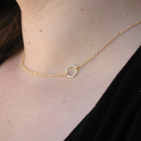 Gold Circle Necklace - Charm Necklace - Tiny Necklace - Delicate Necklace - Dainty Necklace - Circle Pendant - Gold Jewelry - Circle Charm