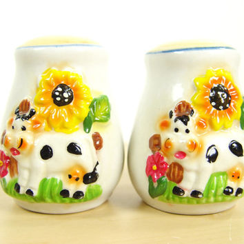 1970s Vintage Happy Cow Salt & Pepper Shakers - Positive Energy - Good Morning