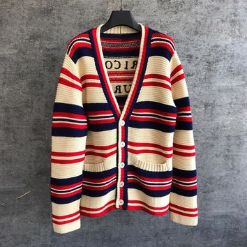 GUCCI Women Long Sleeve Striped Cardigan Sweater