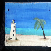 Lighthouse, tropical slate sign, personalize, house number, greeting, welcome
