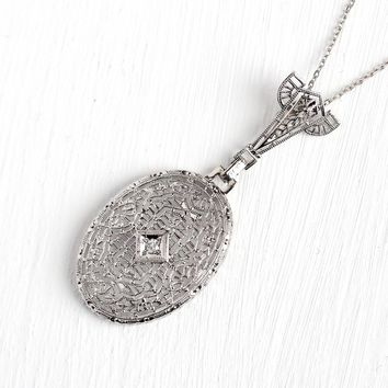 Art Deco Lavalier - Antique 14k White Gold Filigree Genuine Diamond Pendant Necklace - Vintage 1920s 10k White Gold Chain Jewelry