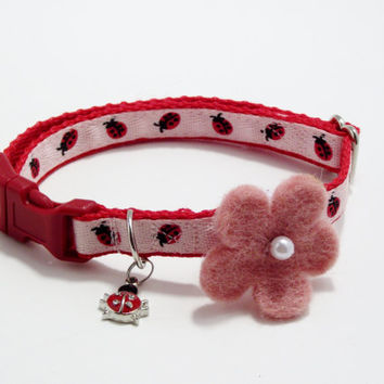 Extra Small Dog Collar Adjustable Red Ladybugs on Light Pink Ribbon on Red Nylon w/ Pink Felt Flower Bow and Ladybug Charm #DXS51
