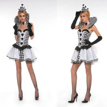 MOONIGHT Halloween Poker Queen Dress The Circus Clown Role-Playing Disfraces Sexy Cosplay Princess Costumes