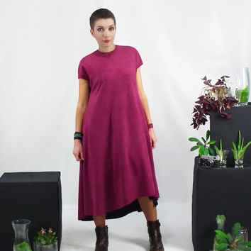 High Low Dress, Maxi Dress, Plus Size Dress, Loose Dip Back Dress, Oversized Dress in Maroon, Curved Hem Dress, Oversize Boxy Dress