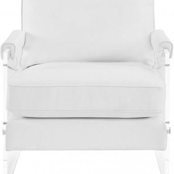SELENA WHITE ECO LEATHER AND LUCITE CHAIR