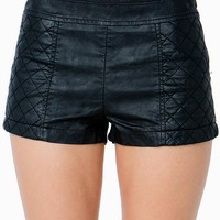 Quilted Faux Leather Shorts