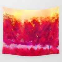 Red Trees Abstract Landscape Wall Tapestry by Jennifer Warmuth Art And Design
