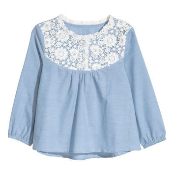 Blouse with Lace Yoke - from H&M