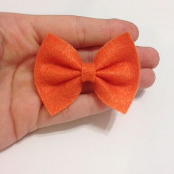 Mini Orange Felt Hair Bow on Alligator Clip - 2.5 Inches Wide - AFFORDABOW Line - Affordable and High Quality Hair Bows