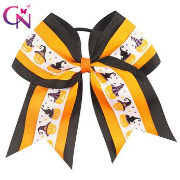 """7"""" Large Halloween Cheer Bow With Elastic For Girls Kids Three Layers Grosgrain Ribbon Cheerleading Bows Hair Accessories"""