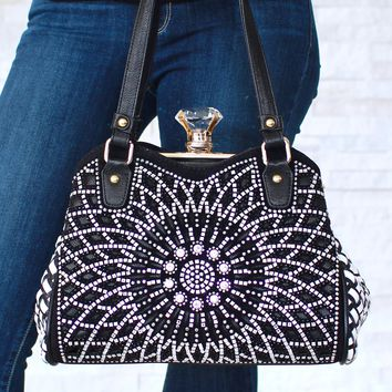 Weave Back Rhinestone Flower Purse