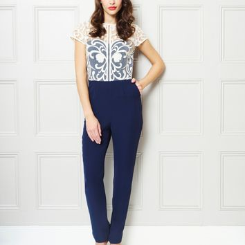 Little Mistress Embroidered Jumpsuit - Baroque Embroidered Cream and Navy Jumpsuit