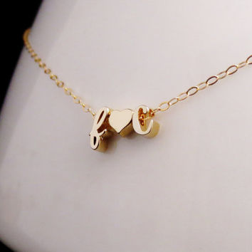 Gold Initials Necklace, Floating Letters and Heart Necklace, Gold and Rose Gold Initial Jewelry, Love Necklace