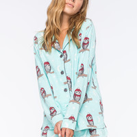 COSMIC LOVE Owl Womens Flannel Shirt | Pajamas