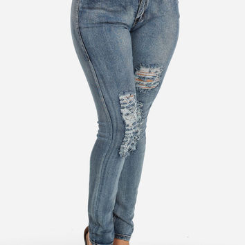 Ripped stretchy low rise jeans