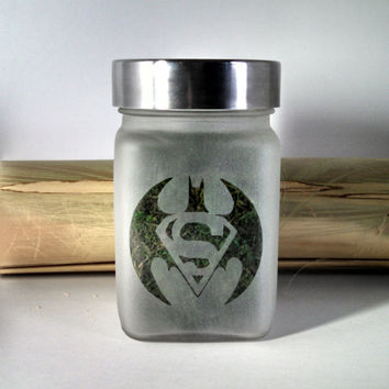 Batman V Superman  Inspired Etched Glass Stash Jar
