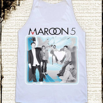 Size L -- MAROON 5 Shirts Alternative Rock Shirts Women Shirts Vest Tank Top Women Tunics Sleeveless Singlet White Shirts maroon 5 T Shirts