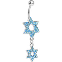 Aqua Gem Paved Double Star of David Dangle Belly Ring