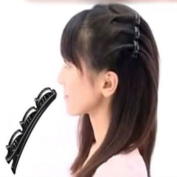 1PC Fashion Women Practical Black Double Hair Pin Clips Barrette Comb Christmas Party Hairpin Hair Disk 2016 Hot