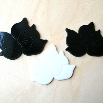 Vintage Lotus Flowers - Black and White Flowers - Plastic Flowers