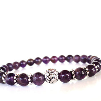 Flower Mala Bracelet Amethyst Yoga Jewelry Healing Recovery Spiritual Healing Recovery Unique Gift For Her Under 50 Item K27