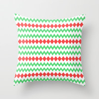 Chevron diamond in green and red Throw Pillow by cycreation