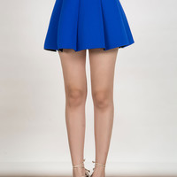 Blue Pleated Skirt Mini Skater Skirt