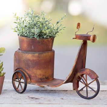 Primitive Rusty Scooter Planter Garden Flower Holder Pot Outdoor Decor