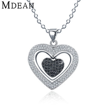 MDEAN women heart pendants CZ diamond jewelry for Wedding white gold plated pendants for Women engagement luxury necklace MSN038