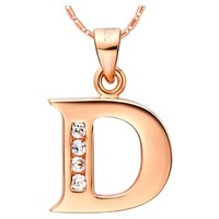 18K Rose Gold Plated Alphabet Initial Letter D Pendant Necklace