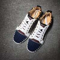 KUYOU Christian Louboutin red sole classic rivet shose Roller Boat CL classic Low Top leopard print Casual shoes