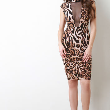 Leopard Mesh Panels Mock Neck Dress