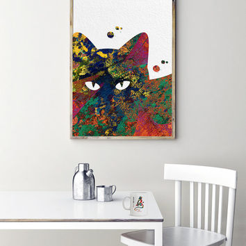 Printable Cat illustration Instant download grunge cat digital print 12x16 printable cat poster abstract art downloadable art cat art print