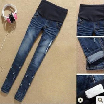 Denim Maternity Belly Jeans Elegant Pregnant Trousers Skinny Pencil Pants for Pregnant Women 2015 New Fashion Plus Size 2XL
