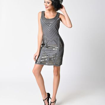Vintage 1920s Style Silver Grey Sleeveless Deco Sequin Short Dress
