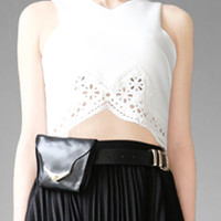 White Lace Cut Out Crop Top