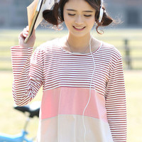 Striped Long Sleeve Mini Slit T-shirt