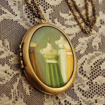 Art Locket - Austen Dresses - Oil Painting Reproduction Art Locket Necklace
