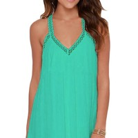 Green Impressed Crochet Detail Swing Dress