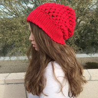 Skater Style Puff Stitch Slouchy Beanie / Baggy Hat / Hipster Beanie / Oversized Beanie / Sack Hat / Slouch Beanie / Ski Hat / Topper Cap